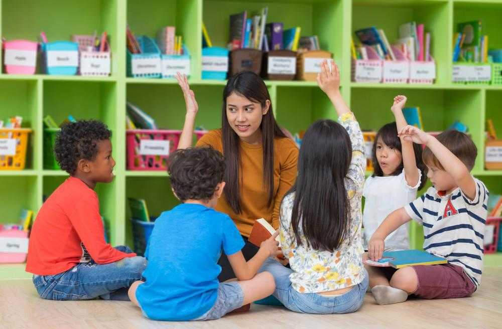 children raise their hand and sit in a circle around a teacher who is reading to them